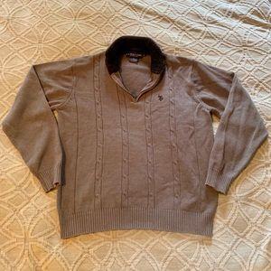 Men's Polo Quarter Zip Pullover- Grey- Sz Large